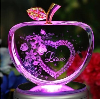 Hot Sale LED Lighted Crystal Apple Birthday Christmas Gift For Friends