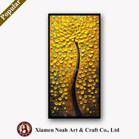 Heavy Textured Palette Knife Oil Paintings On Canvas Hand Painted Modern Abstract 3D Red Flowers Wall Decorative Pictures Art