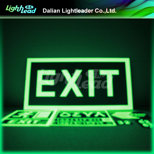 Glow in the dark exit photoluminescent sign