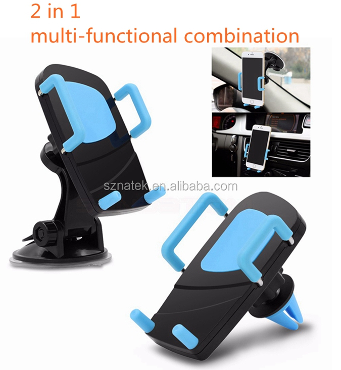 Universal 2 in 1 Car air vent and Dashboard phone holder Stand Windshield mobile Phone mount For Phone6 I7 7blus Smartphone