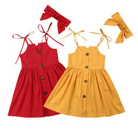 2019 new hot selling wholesale summer sleeveless single-breasted strap party kids flower chinese baby cotton dresses girl