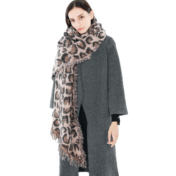 Leopard Pattern Winter Women Soft Cashmere Wool Scarf With Fringe Large Pashminas Shawl and Wrap Warm Stole Blanket