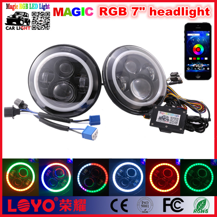 "RGB Bluetooth 7inch Headlight Remote Control 7"" RGB LED Headlight"