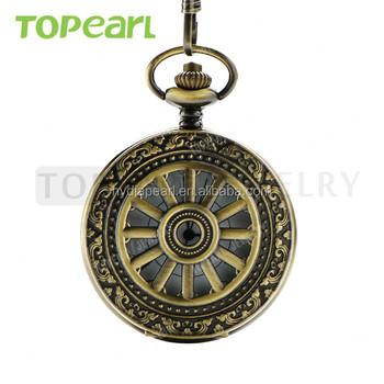 33058eac0fc3 Barato árabe y números romanos de bronce antiguo rueda Hollow cuarzo reloj  de bolsillo cadena LPW279