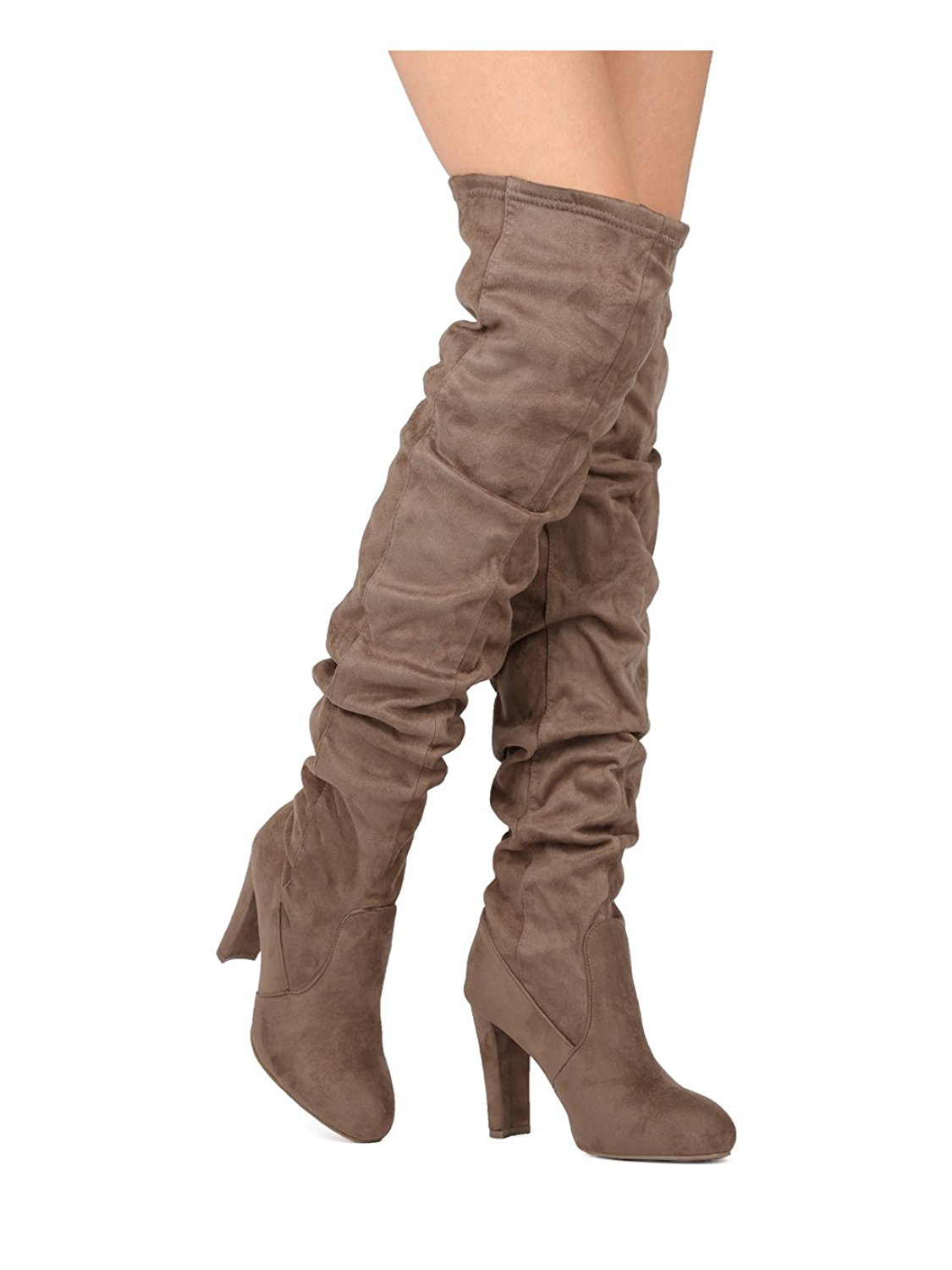 36732ab32 Get Quotations · Alrisco Women Over The Knee Chunky Heel Boot - Slouchy OTK  Boot - Thigh High Slouchy