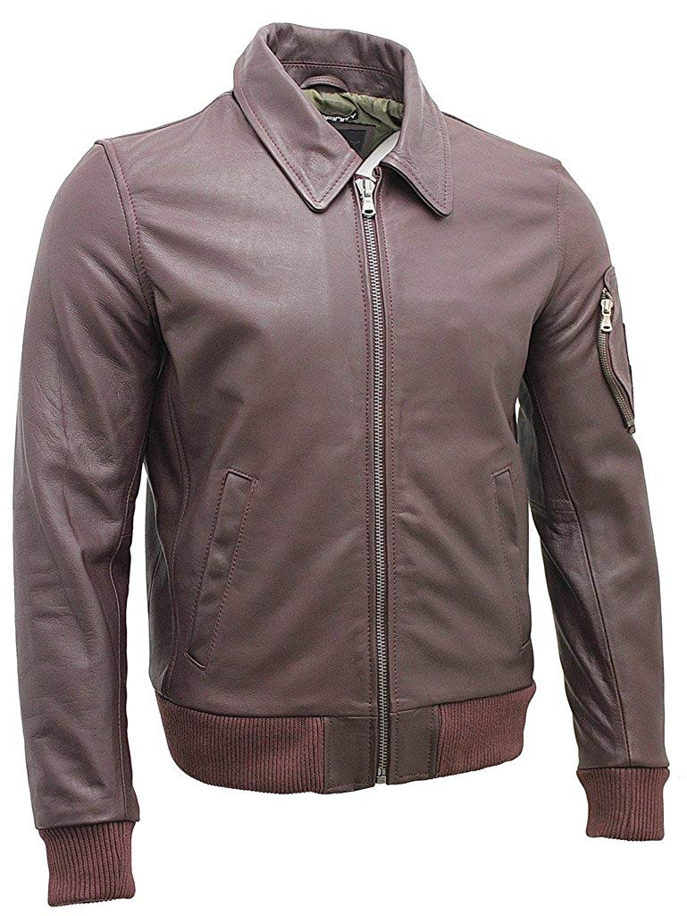 8e114cef0c5804 Get Quotations · Men s A2 Burgundy Cowhide Analine Leather Bomber Jacket