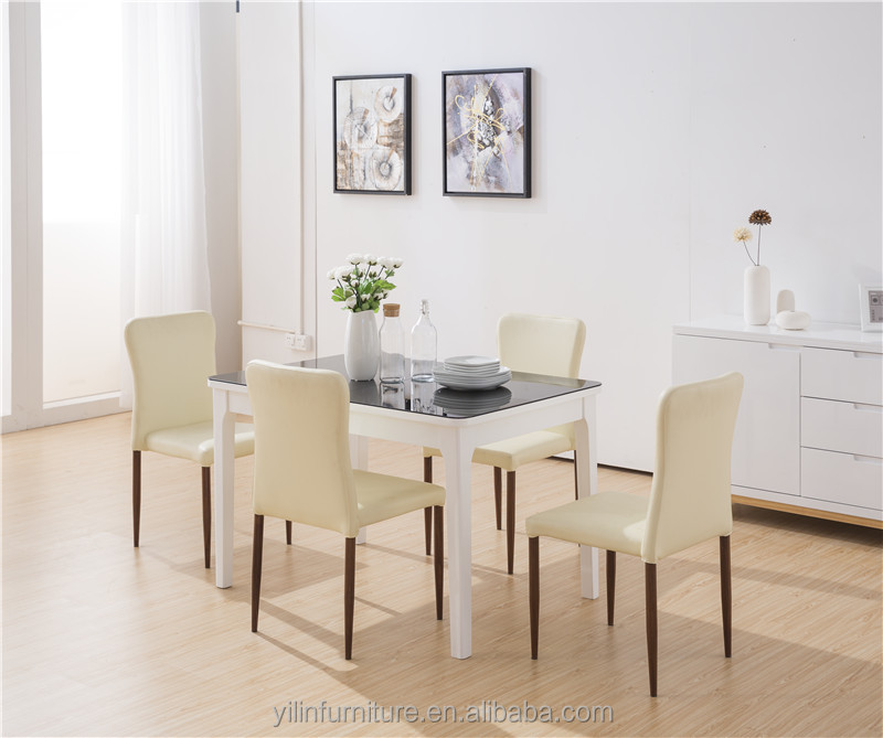 Modern Black tempered glass top folding dining <strong>table</strong>