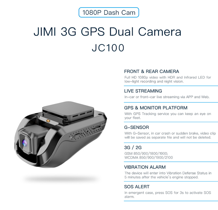 Jimi Jc100 Car 3g Wifi Gps Tracking Dash Camera With Free App And Web  Platform - Buy Jimi Concox Jc100 Edgecam Car 3g,1080p Car Dash Cam,3g Black  Box