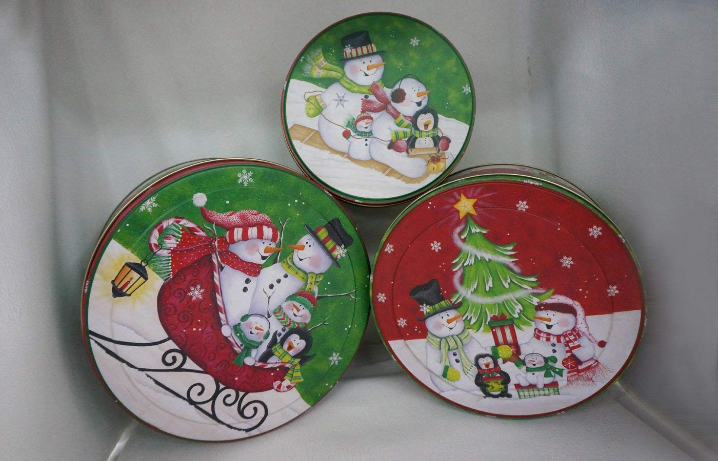 get quotations beautiful round christmas themed set of 3 storage tins shabby chic with snowman