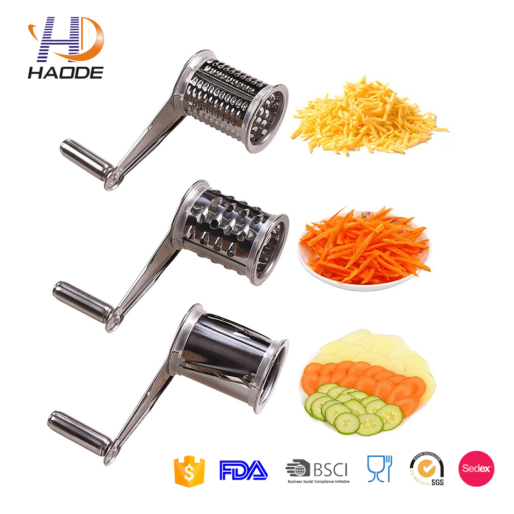 China manufacturer Stainless Steel Multi Purpose Rotary Cheese Grater Shredder 3 Blades