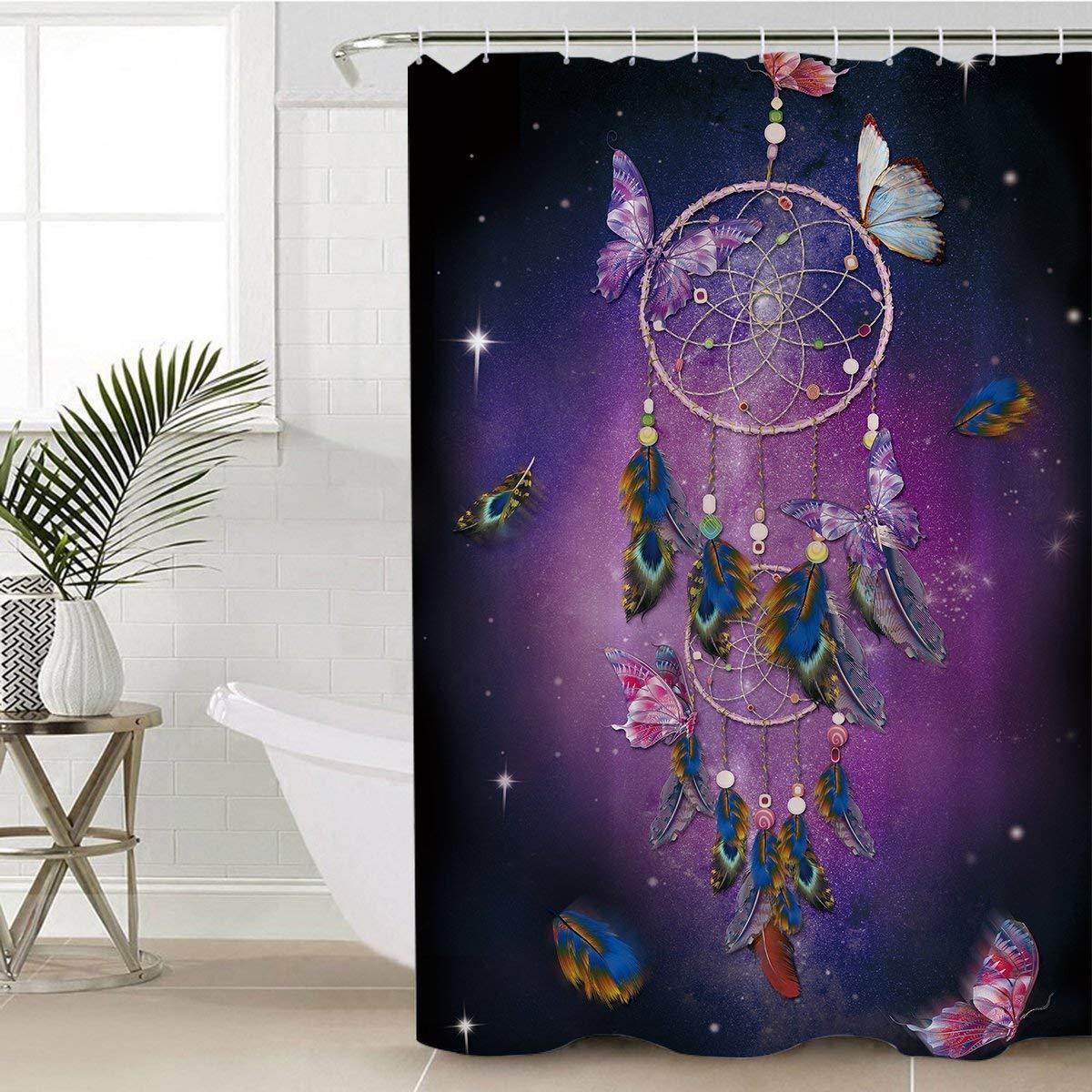 "Sleepwish Butterfly Shower Curtains Creative Bath Shower Curtain Dream Catcher Women Waterproof Mold Mildew Resistant Fabric Shower Curtain (Purple, 72"" W x 72"" H)"