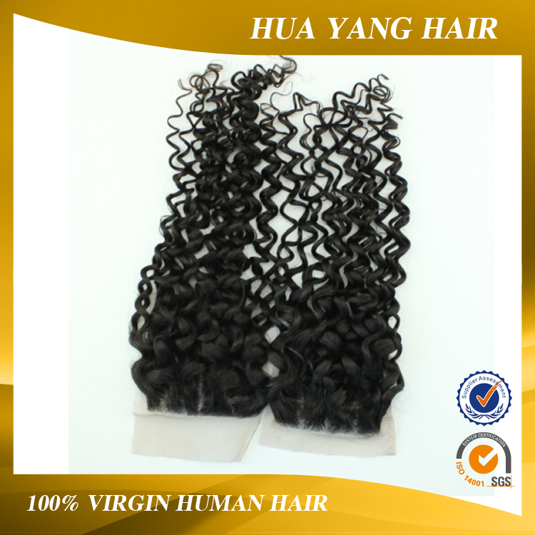 Free Shipping Factory Price Virgin Indian Natural Black Human Hair Lace Closure With Deep Curly