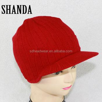 Peaked Army Beanie Hat Warm Wooly Winter Mens Ladies Cadet Ski ... 5953af84953