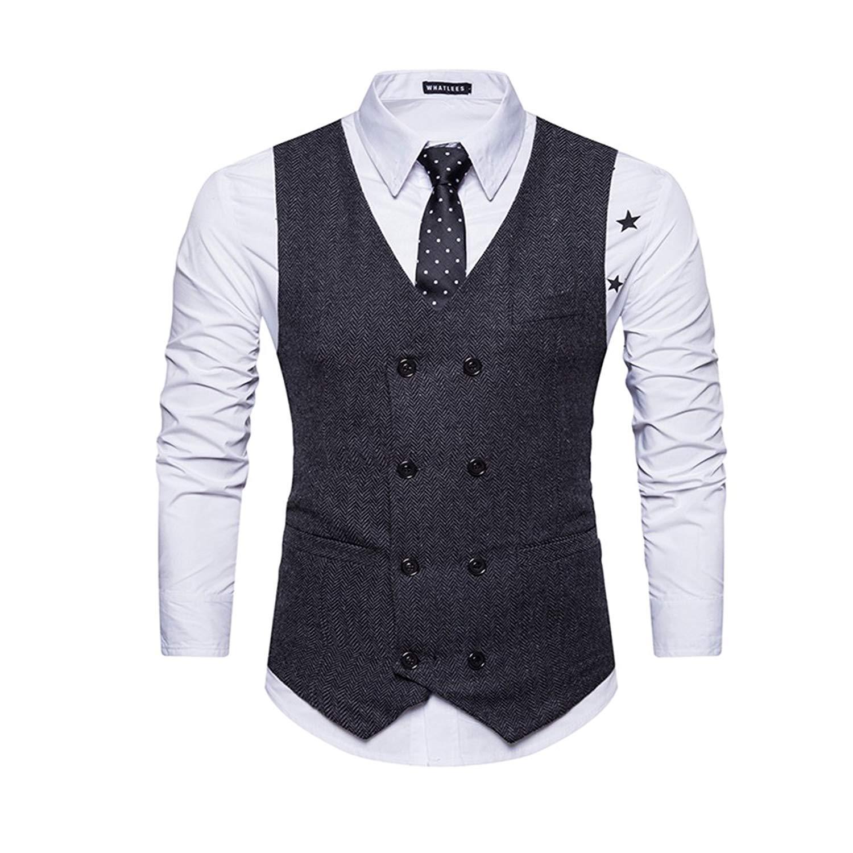 HTOOHTOOH Mens Single Breasted Retro Wear to Work Waistcoat Sleeveless Vest Suit Vests