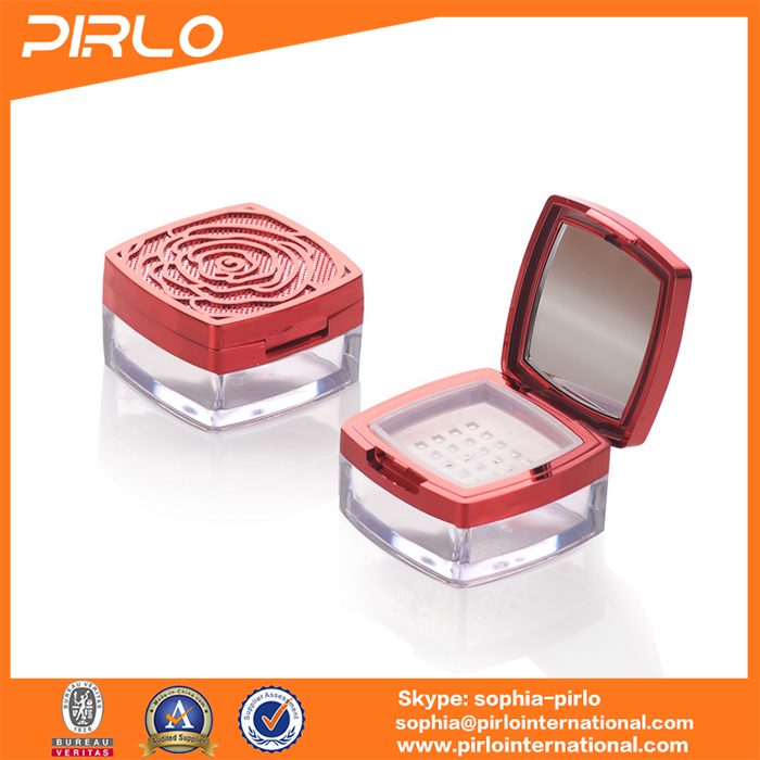 plastic square powder case with sifter for loose powder ABS material cases
