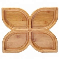 2018 new style leaf shaped dried fruit bamboo wooden candy tray plate for snacks