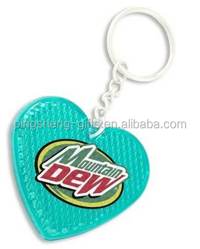 Hard plastic Heart-shaped reflective keychain