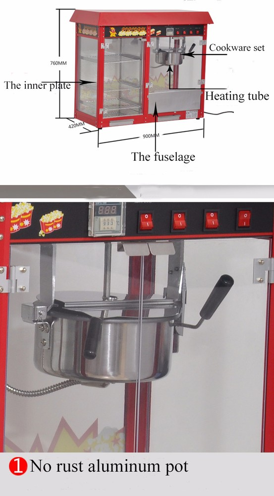 POP6A-D China Commercial Industrial Showcase Style Non-Stick Cookware Flower Shaped Popcorn Popper Machine Price