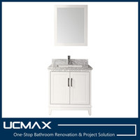 30 inch white bathroom vanity with carrara white marble top