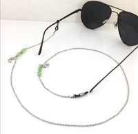 Queena Personal Fashion Cord Holder Rope Silver Beaded Sunglasses Necklace /Green Crystal Eyeglasses Chain
