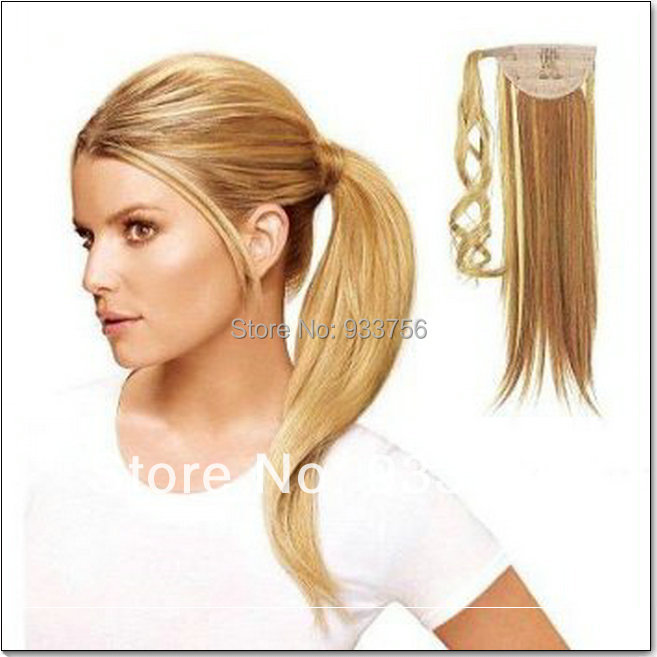 Clip In Blonde Straight Hair Wrap Around Drawstring