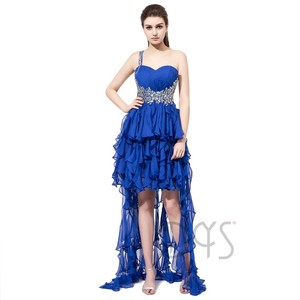 New Design One Shoulder Beaded Asymmetrical Ruffle Fantasy Prom Dress