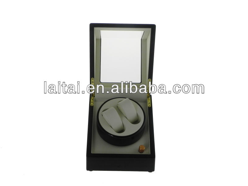 Ebony piano paint hold 2 watches watchcase 033 EW