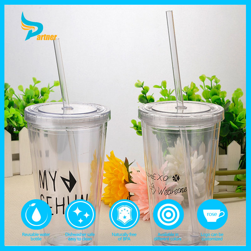 bpa free high quality hot sale summer beach plastic water bottle with straw