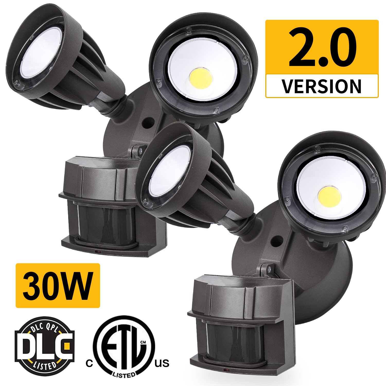 Amico 2 Pack LED Security Light, 30W (200W Equivalent) Dual-Head Motion Sensor Outdoor Lights, 2550lm, 5000K Daylight, Waterproof IP65,ETL & DLC Listed Floodlights, Adjustable Head Lighting - Bronze