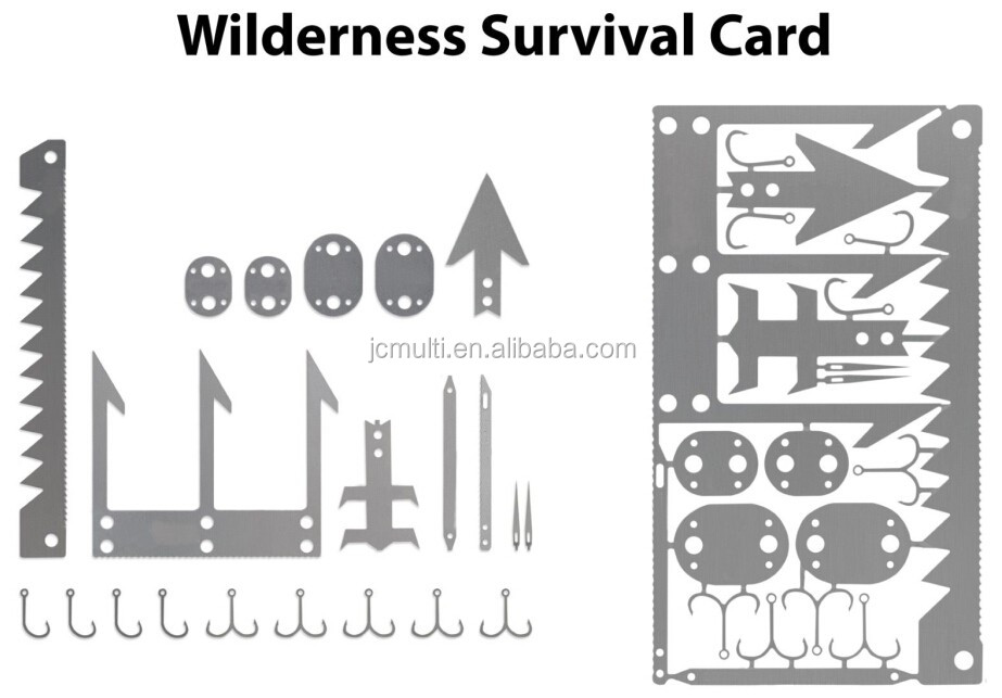 2016 newest outdoor wilderness survival card tool with multifunctions