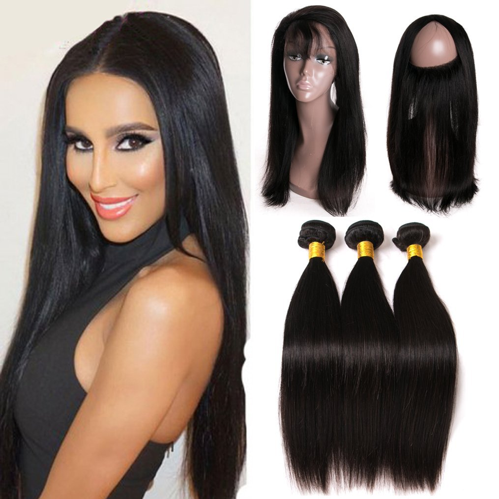 Human Hair Weaves Alipearl Hair 360 Lace Frontal With Bundles Pre Plucked With Baby Hair Brazilian Hair Weave Straight Remy Hair With 360 Frontal High Quality And Inexpensive 3/4 Bundles With Closure