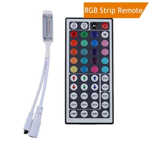LEDMO Mini IR Remote Controller 44 Keys, DC12V, MAX 6A, for RGB LED Strip Light, RGB LED Tape