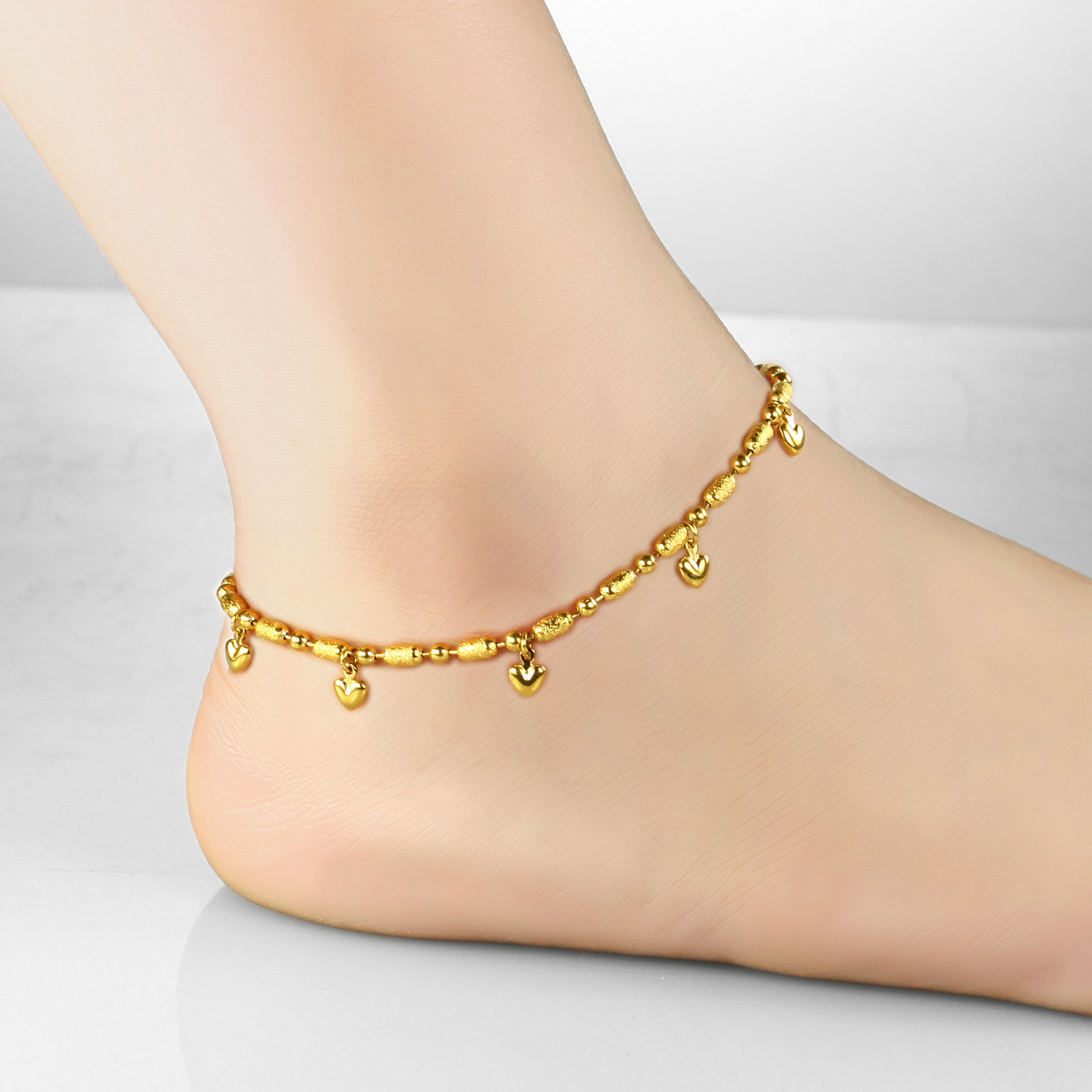 18K gold jewelry hammered copper bead chain anklet