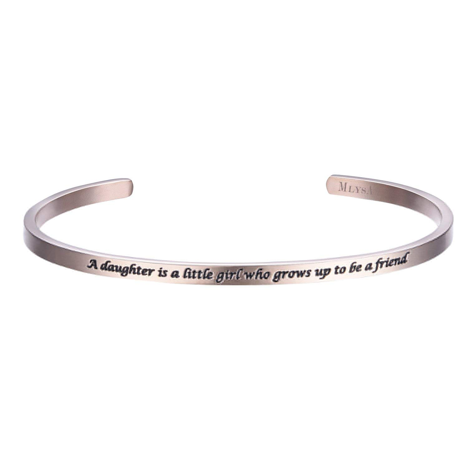 Shally 'A Daughter Is A Little Girl Who Grows Up To Be A Friend' Cuff Bangle Wrist Band Bracelet