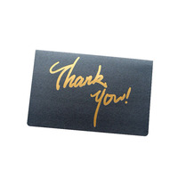 Personalized Printing Black Paper Cardboard Custom Thank You Card With Gold Foil