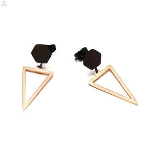 New Vintage Triangle Rose Gold Drop Geometric Statement Earrings