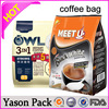 YASON stand up unprinted coffee bag stick with labels to save printing cost and reduce stockssilver aluminum foil coffee bagssta