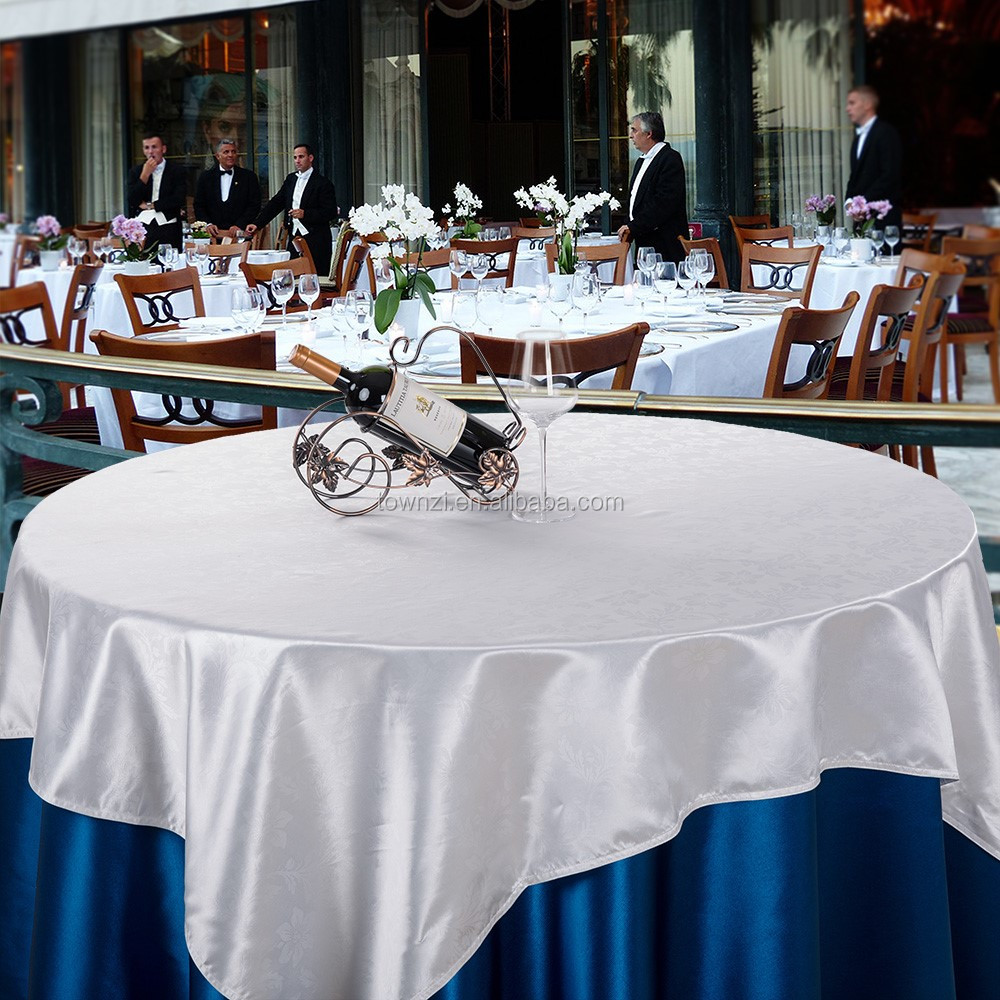 Europe style satin tablecloth for hotel banquet round