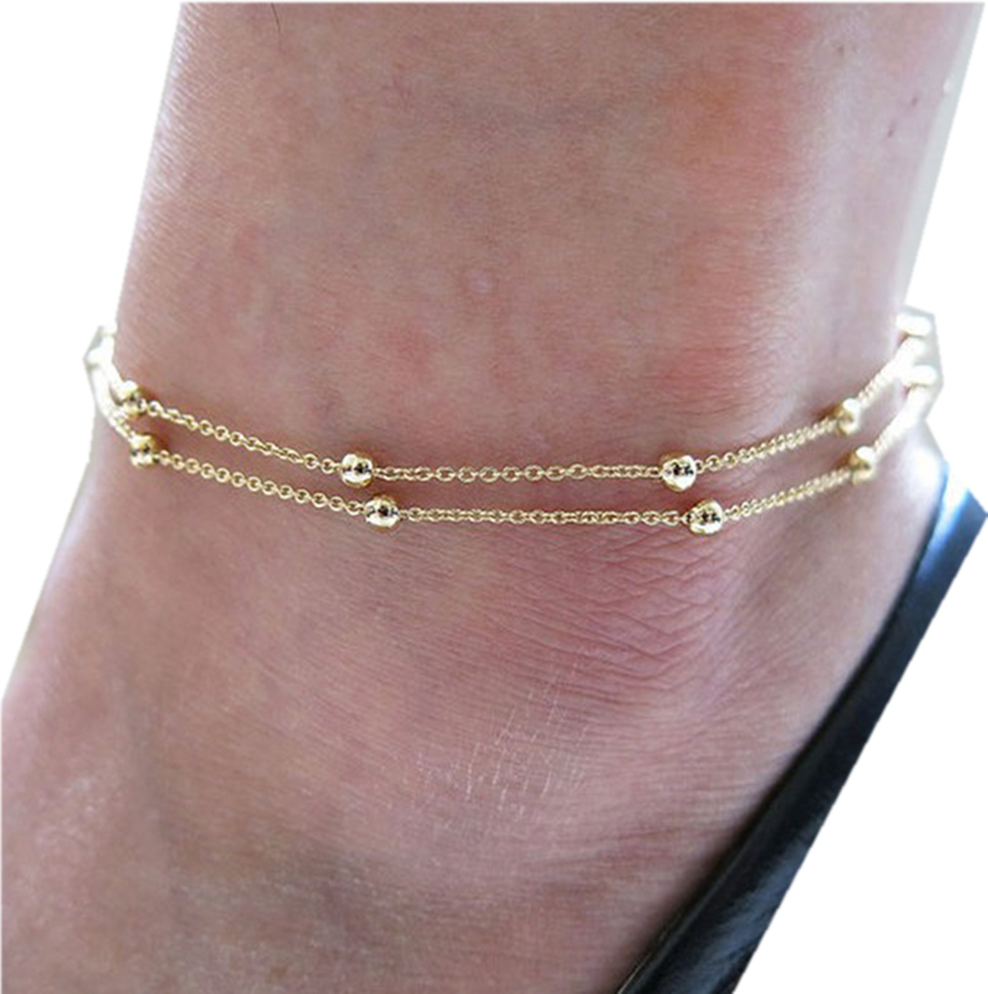 bracelet heart product anklet jewels karat gold double cable chain ankle open