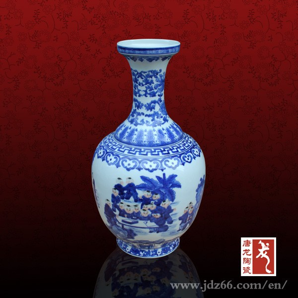 Blue and white porcelain hand painted children playing ceramic material painting designs clay flower vase