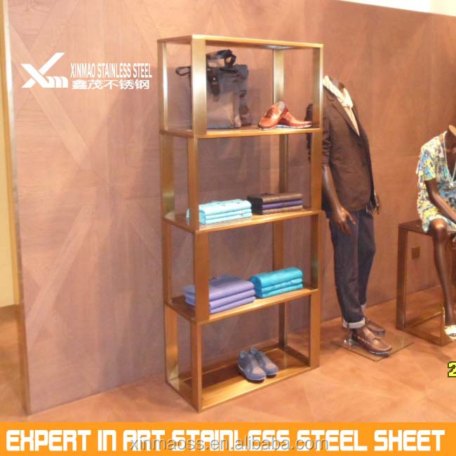 Morden metal stainless steel clothes display rack for clothing shop