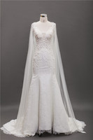 Europe Wholesale wedding dress short sleeve mermaid white ladies gown