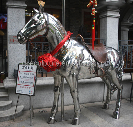 Stainless steel sculpture chinese life size horse for sale