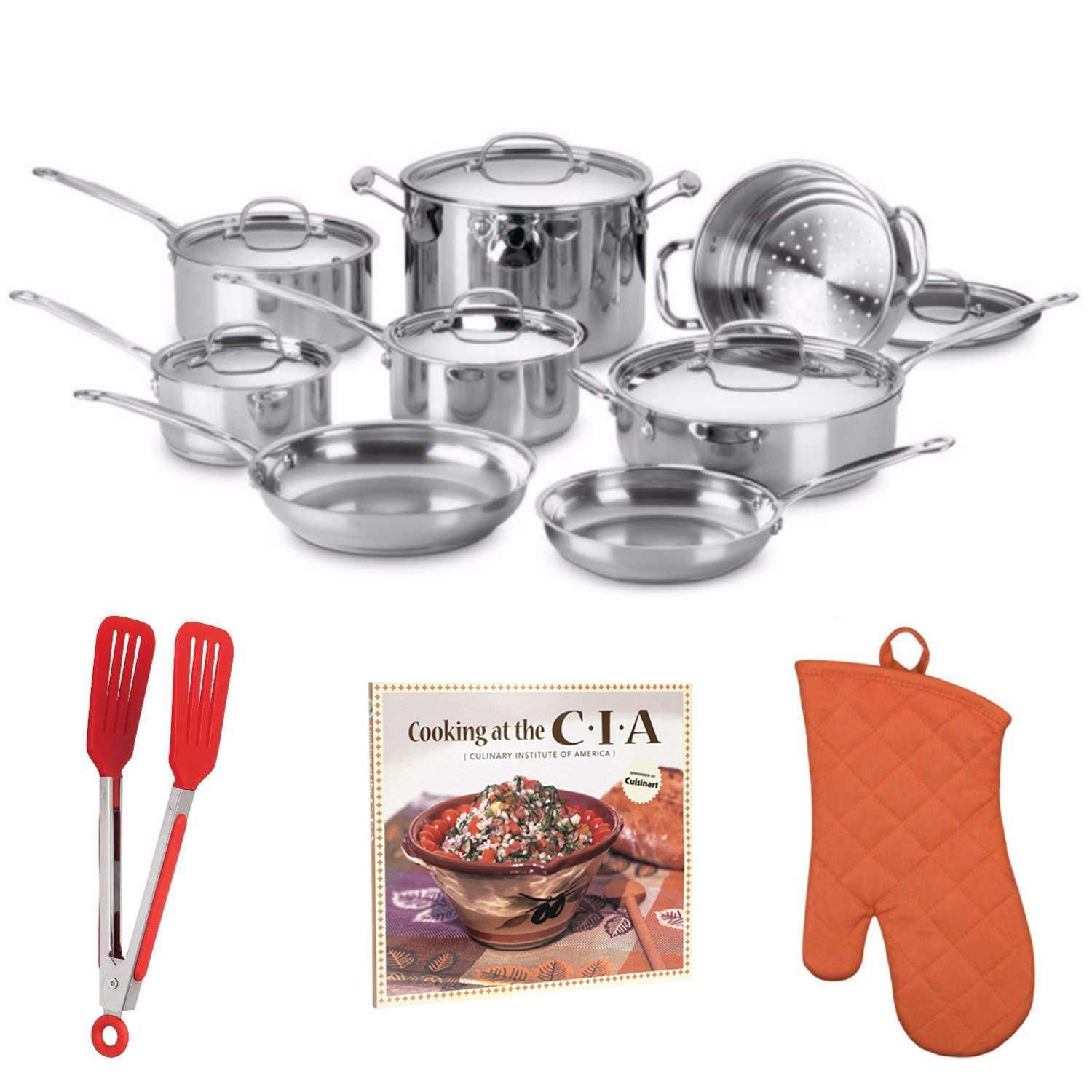 """Cuisinart 77-14N Chef's Classic Stainless 14-Piece Set, Stainless Steel Includes 8"""" Flipper Tongs, Oven Mitt and Cookbook"""