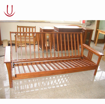 Wooden futon sofa bed for Wooden frame futon sofa bed