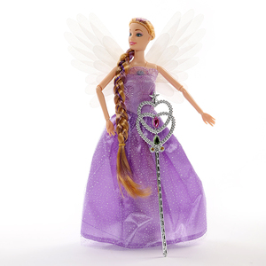 Fashion 30CM music light Princess doll Joint Movable Body doll with wings long Hair fairy stick winx club Doll gift toy