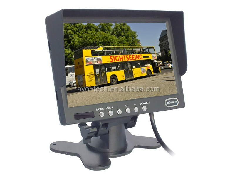 DC12V-24V 7 Inch 1024X600 1080P Car Monitor with 2 Ways Input