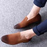 SS0009 Nice italian loafers dress shoes 2018 men's casual single flat steel toe shoes