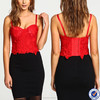 guangzhou ladies trendy clothing spaghetti strap crop top red crochet lace sexu bustier