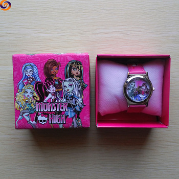 Promotional gift cartoon pu leather Monster high smart watch for children